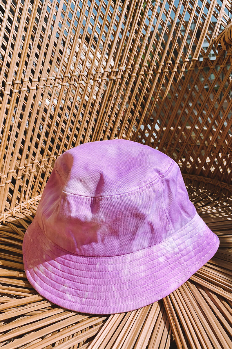Tie Dye Bucket Hat - Purple Plain