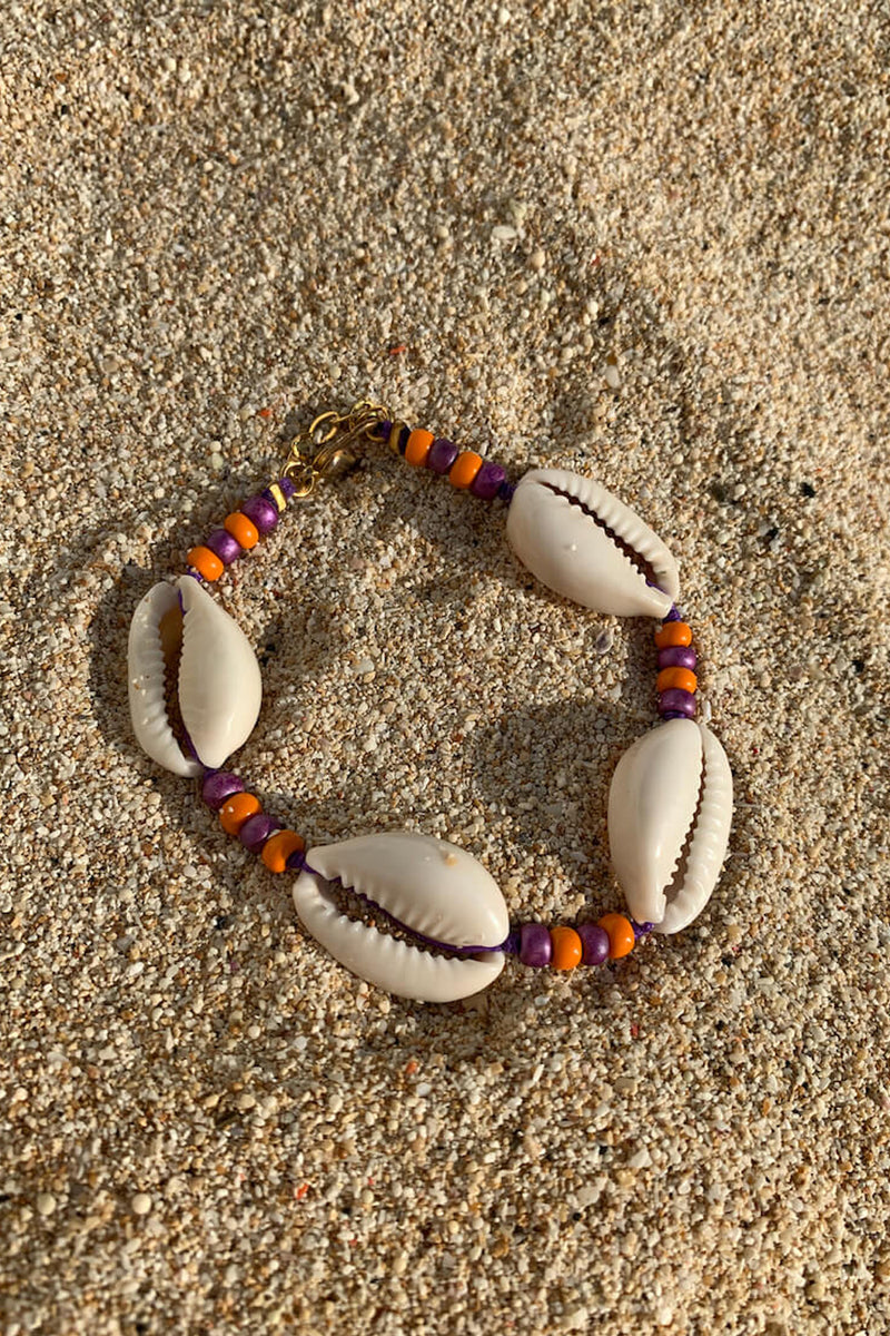 Shell we go to Bali bracelet  | Orange & Purple