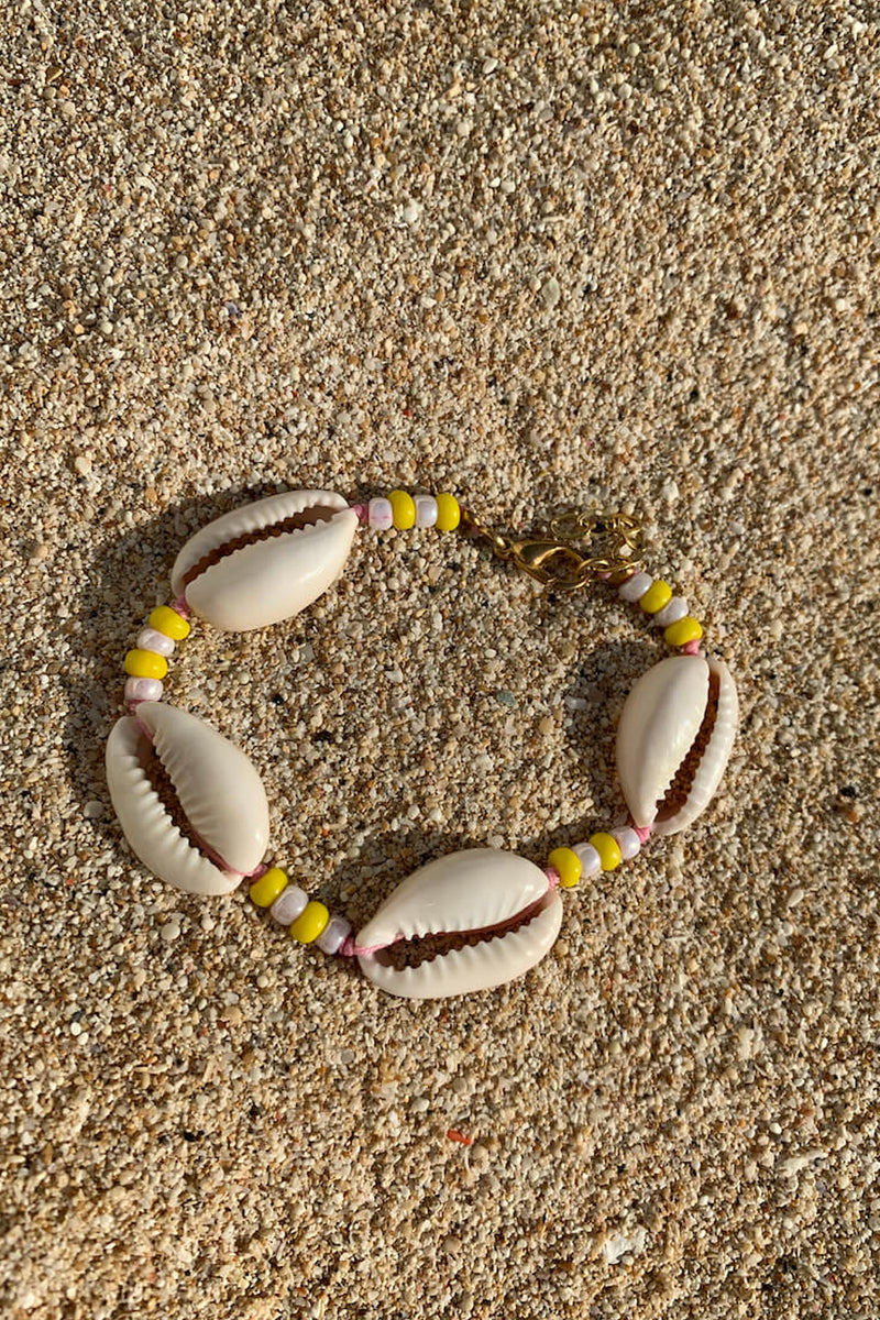 Shell we go to Bali bracelet | Yellow & Pink