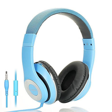 AUSDOM Lightweight Over-Ear Wired HiFi Stereo Headphones with Built-in Mic Comfortable Leather Earphones- Blue