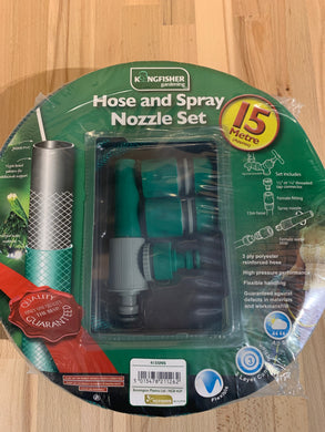 Kingfisher 15m Reinforced Hose and Spray Nozzle Set