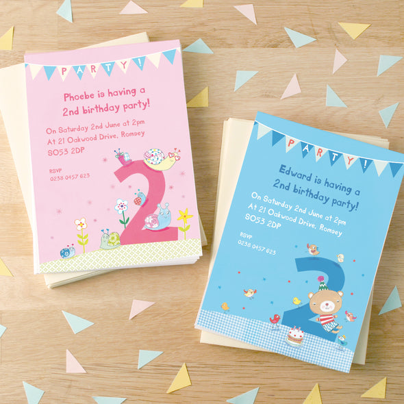 Personalised Second Birthday Children's Party Invitations