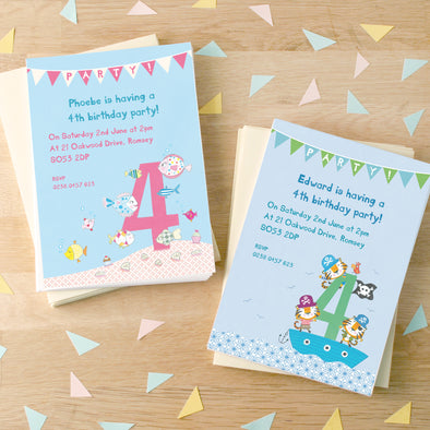 Personalised Fourth Birthday Children's Party Invitations