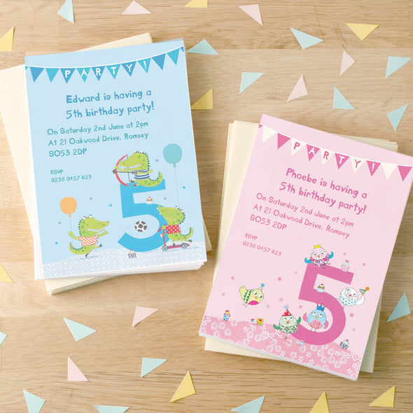 Personalised Fifth Birthday Children's Party Invitations