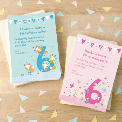 Personalised Sixth Birthday Children's Party Invitations