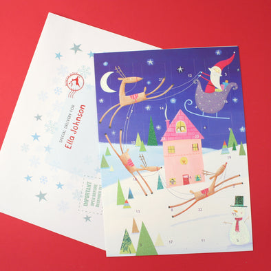 Santa in a sleigh advent calendar with personalised envelope