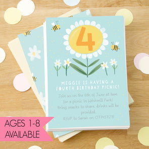 Personalised Daisy Children's Birthday Invitations