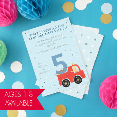 Personalised Fire Engine Birthday Invitations