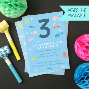 Personalised Fish Children's Birthday Invitations