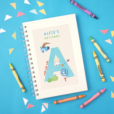 Personalised Illustrated Alphabet Letter A Children's Notebook