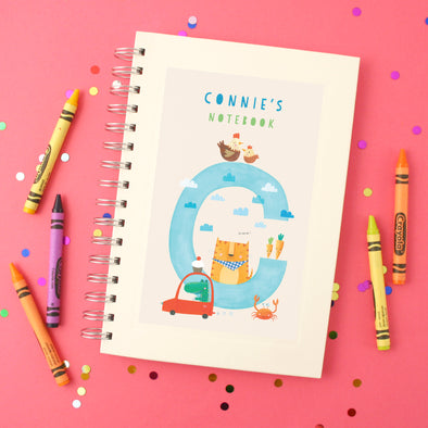 Personalised Illustrated Alphabet Letter C Children's Notebook