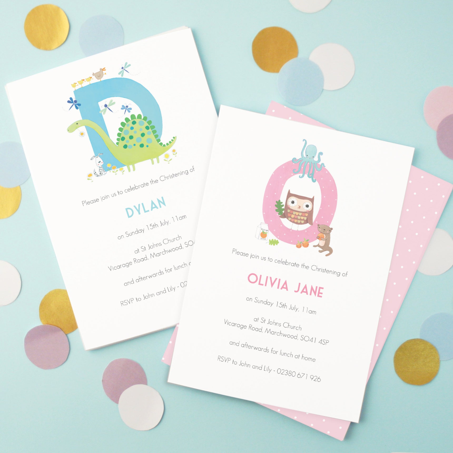 personalised illustrated alphabet christening invitations madebyellis