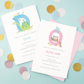 christening invitations with initial and personalised text
