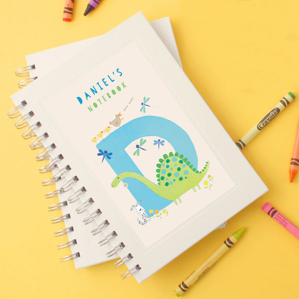 Personalised Illustrated Alphabet Letter D Children's Notebook
