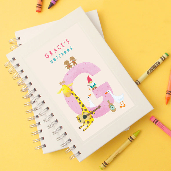 Personalised Illustrated Alphabet Letter G Children's Notebook