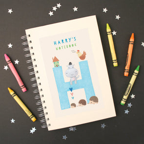 Personalised Illustrated Alphabet Letter H Children's Notebook
