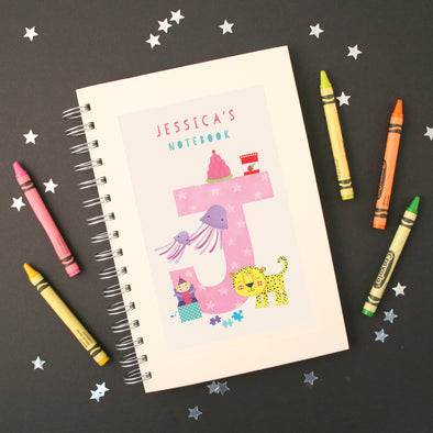 Personalised Illustrated Alphabet Letter J Children's Notebook