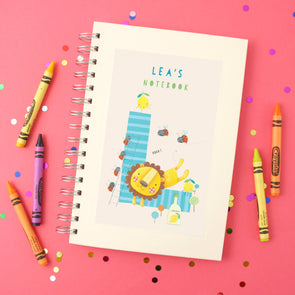 Personalised Illustrated Alphabet Letter L Children's Notebook