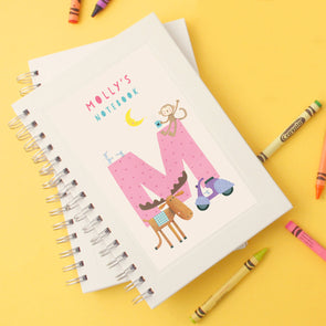 Personalised Illustrated Alphabet Letter M Children's Notebook