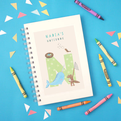 Personalised Illustrated Alphabet Letter N Children's Notebook