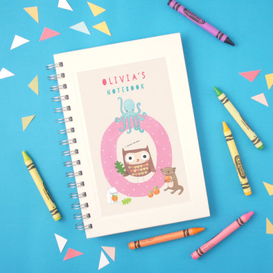 Personalised Illustrated Alphabet Letter O Children's Notebook