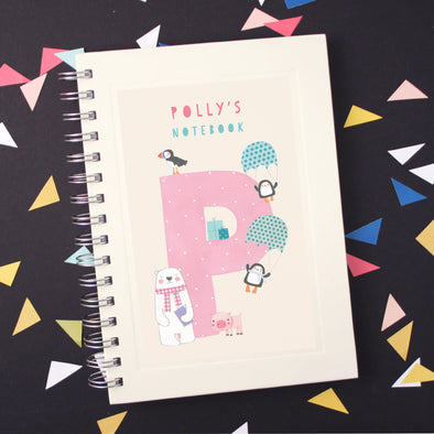 Personalised Illustrated Alphabet Letter P Children's Notebook