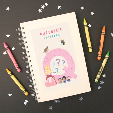 Personalised Illustrated Alphabet Letter Q Children's Notebook