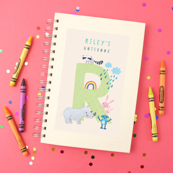 Personalised Illustrated Alphabet Letter R Children's Notebook