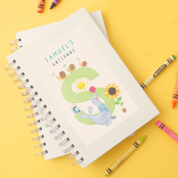 Personalised Illustrated Alphabet Letter S Children's Notebook