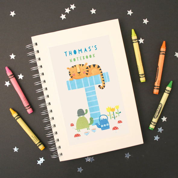 Personalised Illustrated Alphabet Letter T Children's Notebook