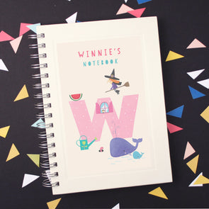 Personalised Illustrated Alphabet Letter W Children's Notebook