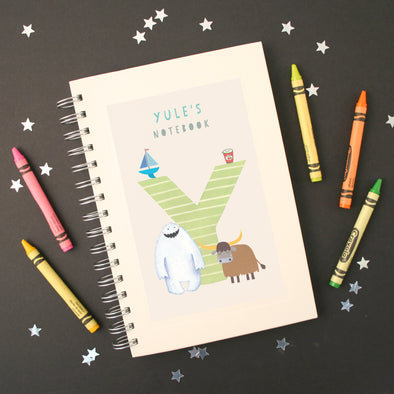 Personalised Illustrated Alphabet Letter Y Children's Notebook