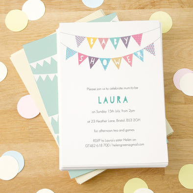 Personalised baby shower invitations