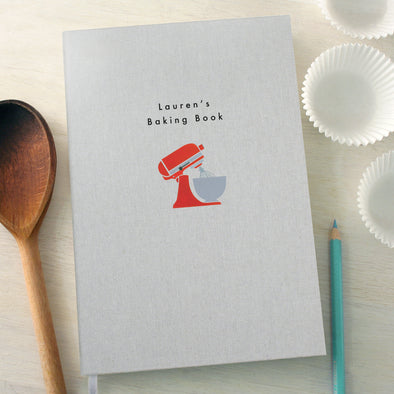 Personalised Baking Mixer A5 Cloth Bound Notebook