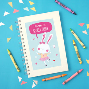 Personalised children's notebook with ballet bunny design