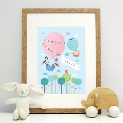 Animal and hot air balloons print for children with personalisation