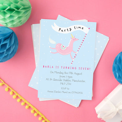 Personalised Unicorn Children's Invitations