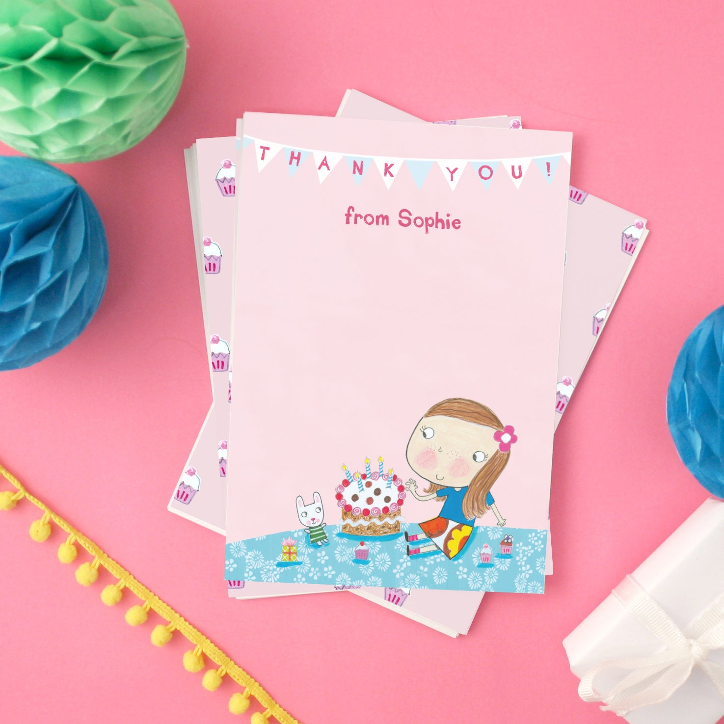 Personalised Birthday Cake Children s Thank You Cards With