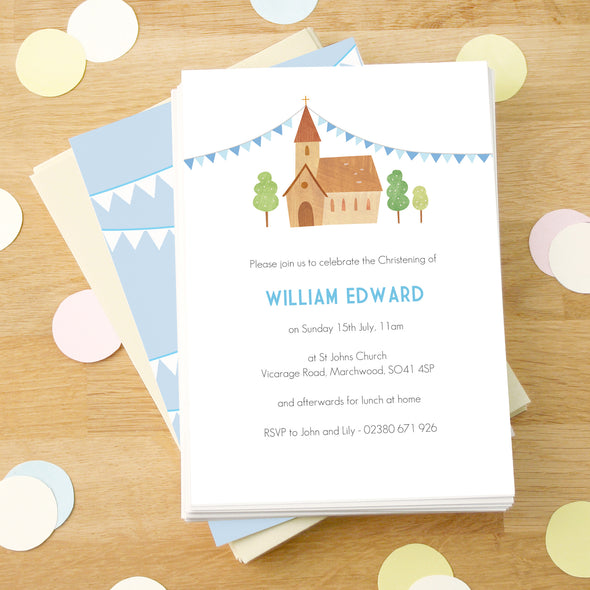 Personalised Church and Blue Bunting Christening Invitations