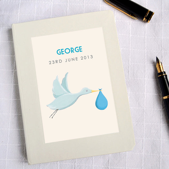 Personalised Blue New Baby Hardback Lined Notebook Stork Design