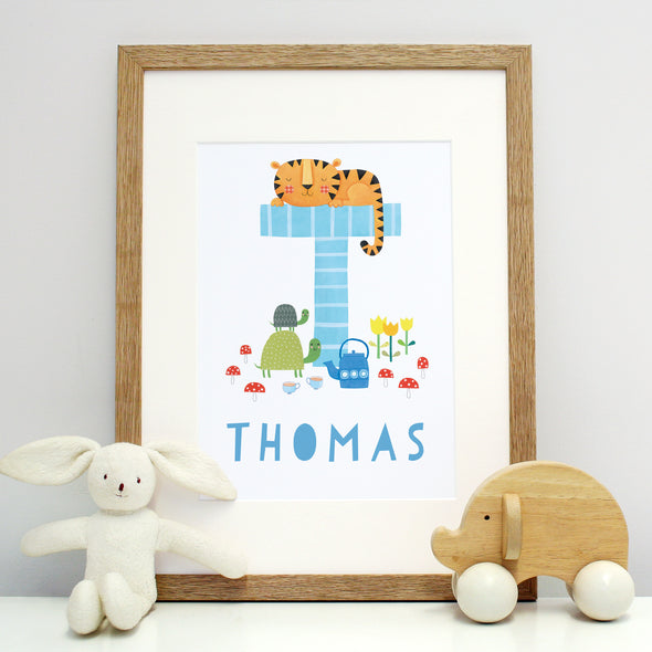 Personalised children's print with illustrated initial