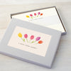 Personalised writing set with tulips design