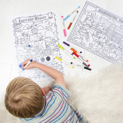 Personalised Adventure Colouring Poster Set With Felt Tip Pens