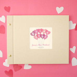 Hen party photo album with personalisation and heart illustration