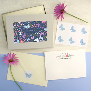 Personalised Butterfly Pattern Writing Set