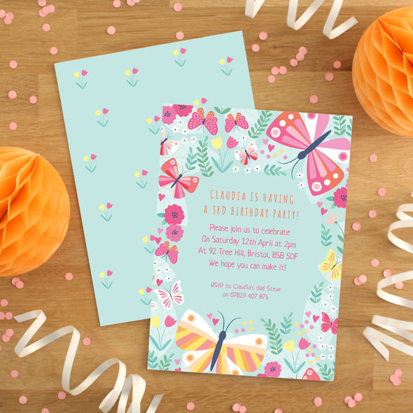 Personalised Butterfly Pattern Birthday Invitations