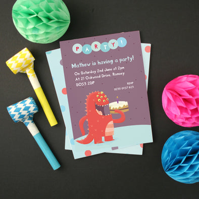 Personalised Monster and Birthday Cake Party Invitations