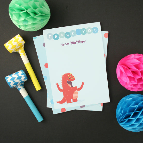 Personalised Red Monster Children's Thank You Cards