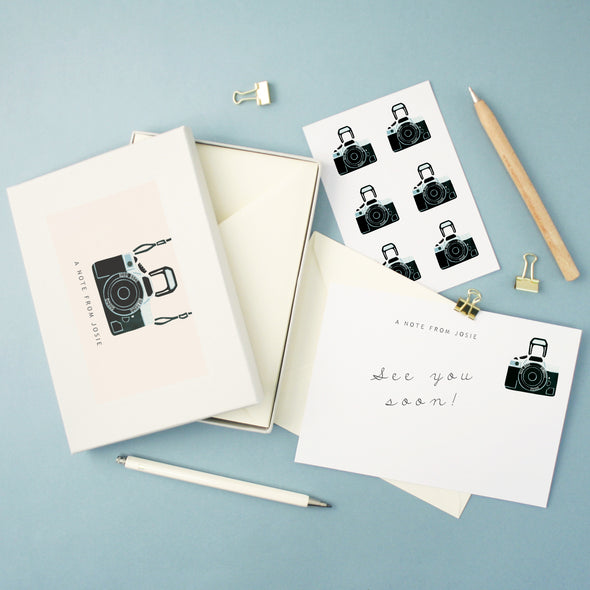 Personalised writing set with camera illustration