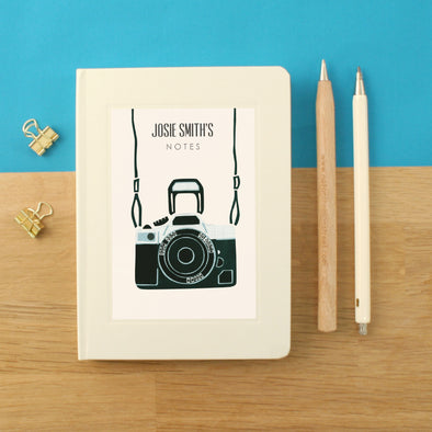 Personalised Retro Camera Hardback Lined Notebook